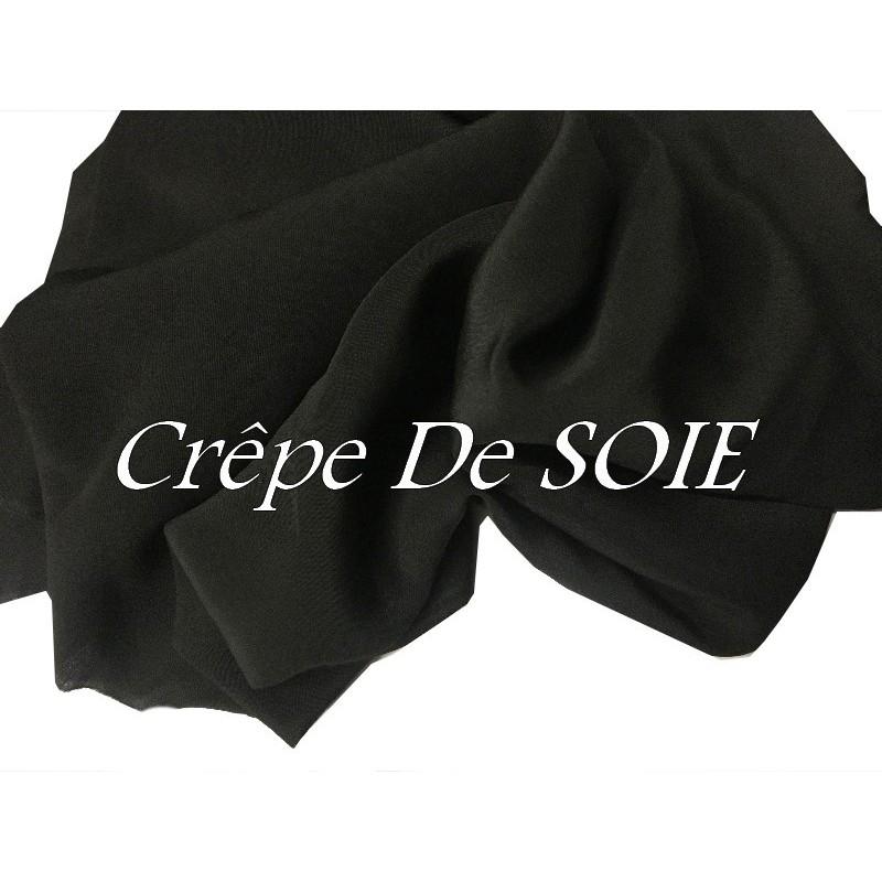 Crêpe De SOIE Noir Au mètre Couture.