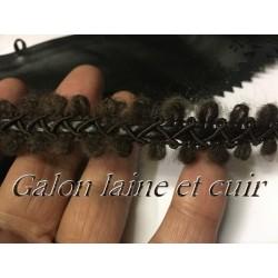 Galon Ruban En Laine Et Cuir Au Mètre Marron En 2 cm A Coudre.