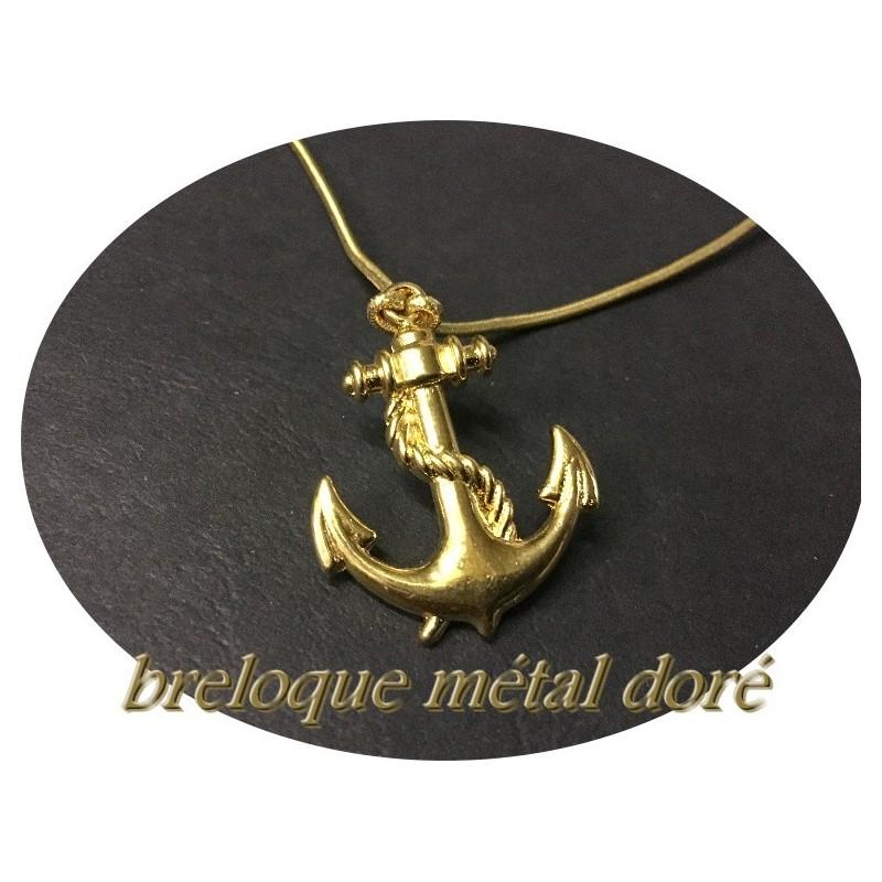 6c456b60657c7 Breloque pendentif en métal doré en forme d'ancre marine pour loisirs  créatifss.