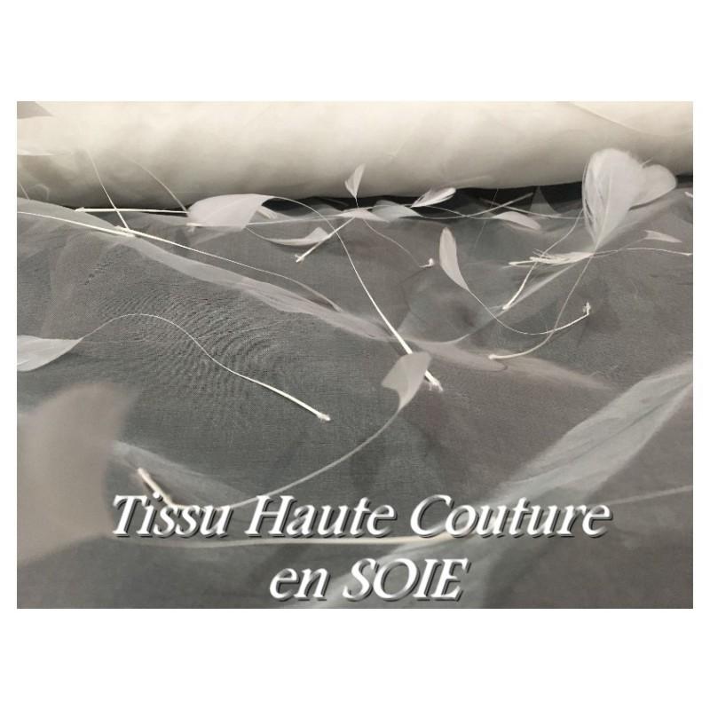 Tissu En Soie Haute Couture, Organza ivoire Orné de Plume en Ivoire Pour Mariage et Cérémonie.