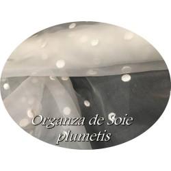 Tissu Organza De Soie Brodé Plumetis Ivoire Au Mètre Couture.