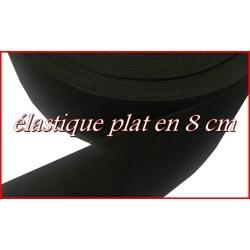 Elastique Plat Au Mètre en 8 Cm Noir De Large Pour La Couture.