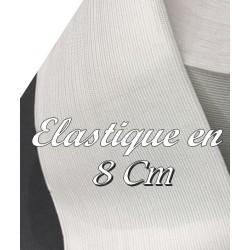 Elastique Plat Au Mètre en 8 Cm Blanc De Large Pour La Couture.
