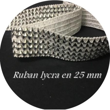 Galon Ruban Elastique En 25 mm Argent Sur Fond Blanc, Pour Lingerie, Et Customisations.
