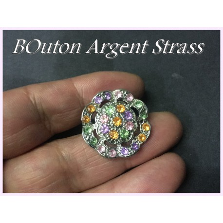 Bouton Strass A Coudre En Taille 25 mm x 6 pièces.