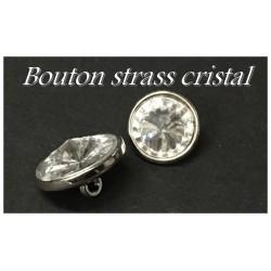 Bouton Strass Cristal Blanc Taille 18 mm A Facette Cerlé Argent Couture