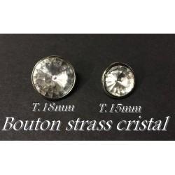 Bouton Strass Cristal Blanc Taille 15 mm A Facette Cerlé Argent Couture