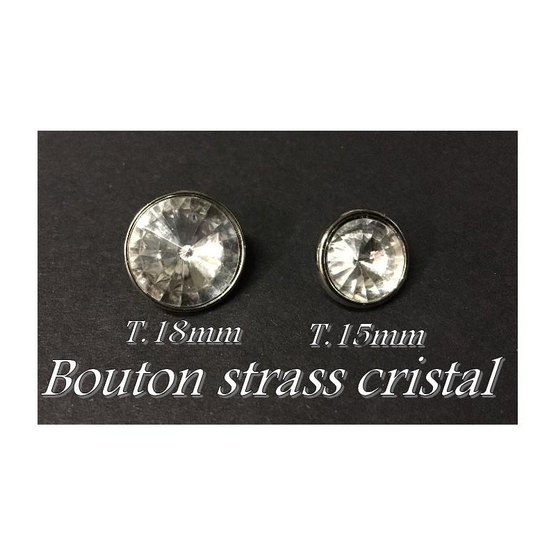 Bouton Strass Cristal Blanc A Facette Cerlé Argent Couture
