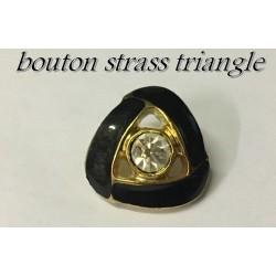 Bouton Strass Triangle En Taille 18 mm Cerlé Noir Et Doré Couture