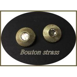 Bouton Strass Cerclé Doré En Taille 22 mm Couture