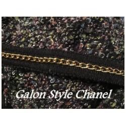 """Galon Au Mètre Style """" Chanel"""" Noir Au Mètre Orné De Chainette Doré"""