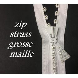 Zip Strass 35 cm Blanche, Fermeture éclair En Grosse Maille Strass Séparable, Ouvrable En 35 Cm.