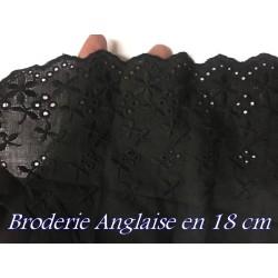 Broderie Anglaise Coton Au Mètre en 18 cm Noir