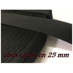 Ruban Gros Grain Noir Uni En 25m mm A Coudre Pour Loisirs Créatifs Et Décorations.