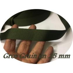 Ruban Gros Grain Kaki En 25m mm A Coudre Pour Loisirs Créatifs Et Décorations.