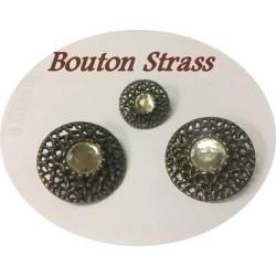 Bouton Strass Cristal Cerlé Bronze En 18 mm à Coudre.