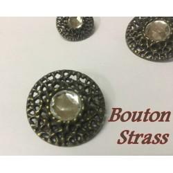 Bouton Strass Cristal Cerlé Bronze En 18 mm Or à Coudre.