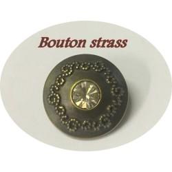 Bouton Strass Cristal Fantaisie Couture Cerlé Bronze En 14 mm.