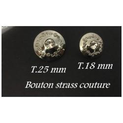 Bouton Strass Cristal Couture Argent En 25 mm.