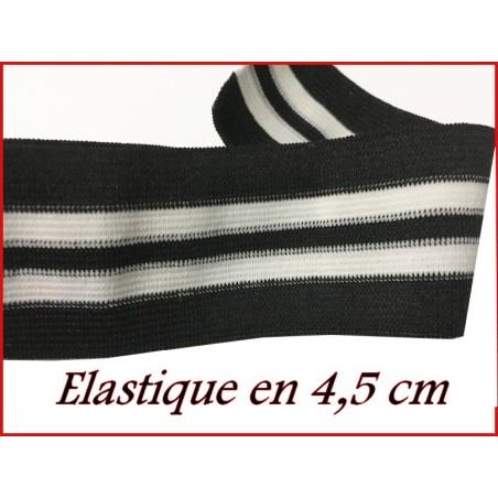 Elastique Ruban Plat Noir et Blanc En 45 mm Au Mètre A Coudre Pour Ceintures Loisirs Créatifs Et Customisations.