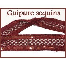 Dentelle Sequins Guipure Brodé En 4.5 Cm BOrdeaux Couture.