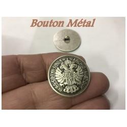 Bouton Métal Argent Vieilli En Motif Tête D'Aigle En Taille 22 mm A Coudre