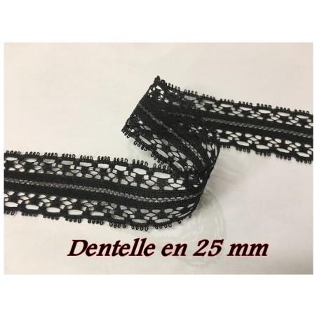 Dentelle Au Mètre Noir En Entre Deux En 2,5 Cm A Coudre.