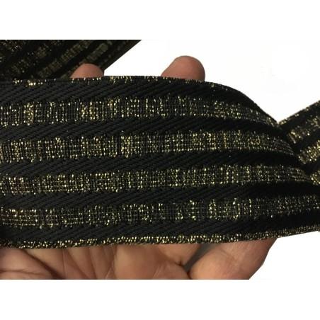 Elastique Plat Doré Or Et Noir En 5,5 Cm Au Mètre A Coudre Pour Ceintures Loisirs Créatifs La Customisations.