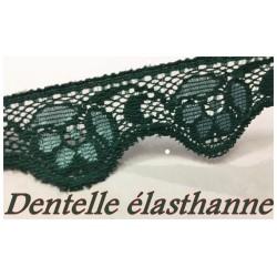 Dentelle Rachel Lycra Elastique Au mètre En 2.5 cm Vert Emeraude Couture Pour Lingerie, Décorations Et Loisirs Créatifs.