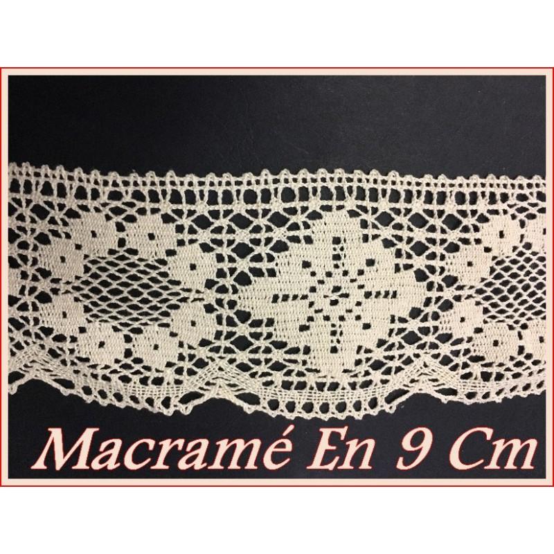 Dentelle Au Crochet En Macramé Au Mètre En 9 Cm Blanc.