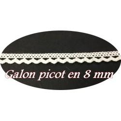 Galon Ruban Picot En Tissu Macramé Blanc En 8 mm Féstonné, Pour Vetements, et Customisations.