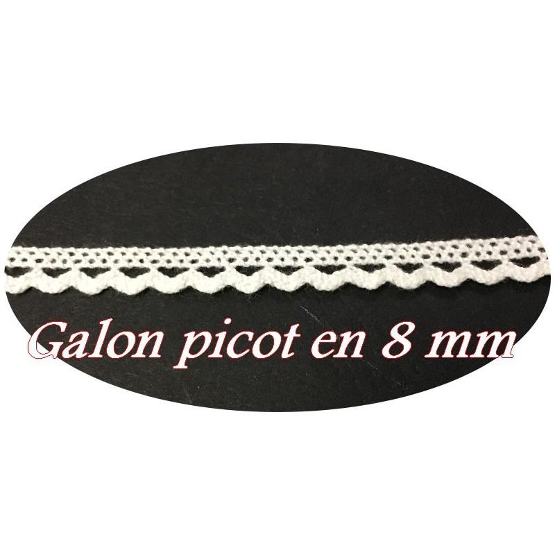 Galon Ruban picot En Tissu Macramé Blanc En 8 mm Féstonné, pour lingerie, et Customisations.
