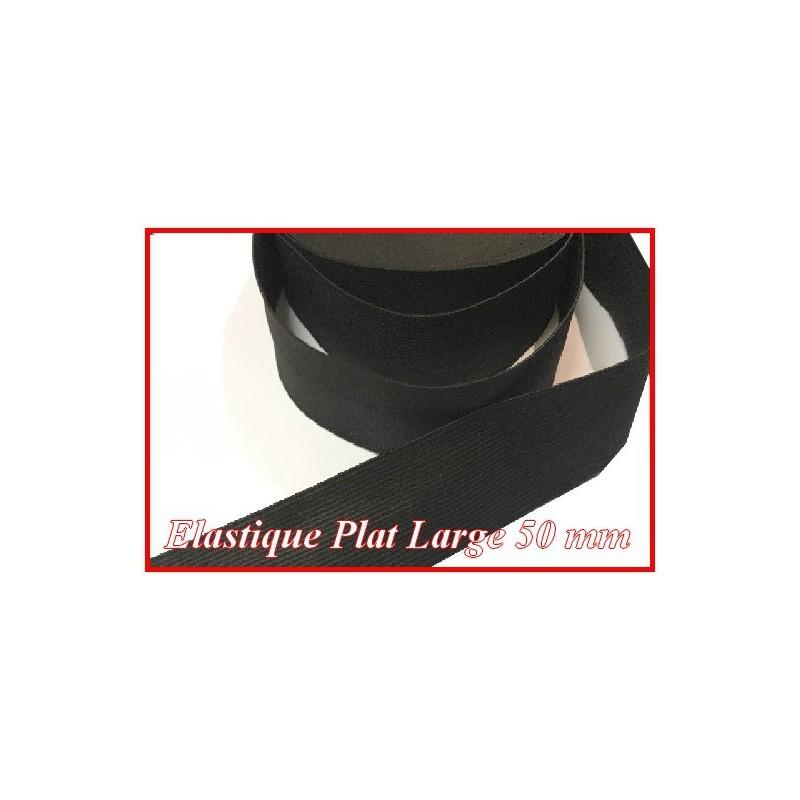 Elastique Plat Large 50 mm Noir Au Mètre Pour La Couture.
