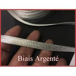 Biais Tissu Argenté Lurex , Au Mètre A Coudre, Pour Loisirs Créatifs Et Décorations.