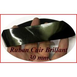 Ruban Simili Cuir vinyl Brillant Noir Au Mètre En 30 mm Couture.